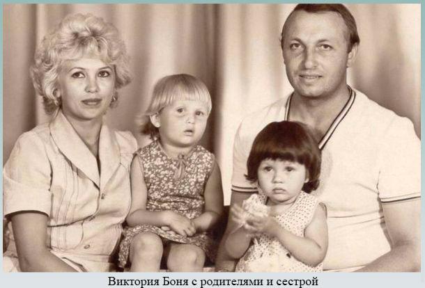 Виктория Боня с родителями и сестрой