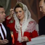 Супруги Медведевы с Путиным