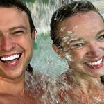 Прохор и Виталина в бассейне