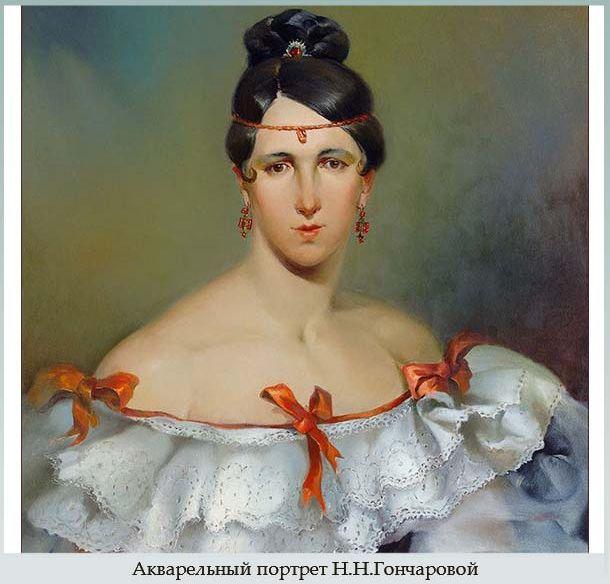 Акварельный портрет Гончаровой