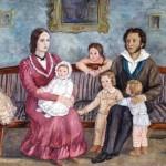 Пушкин с женой и детьми